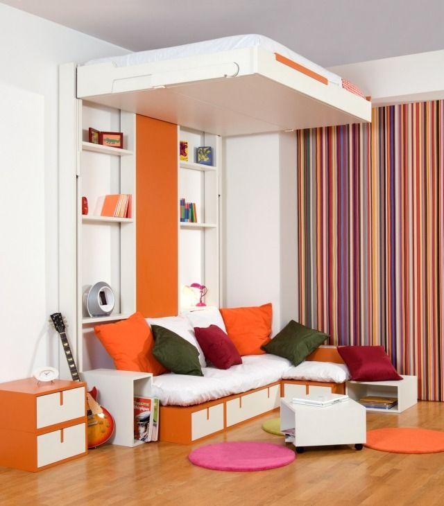 Hochbetten Erwachsene Design Weiß Orange