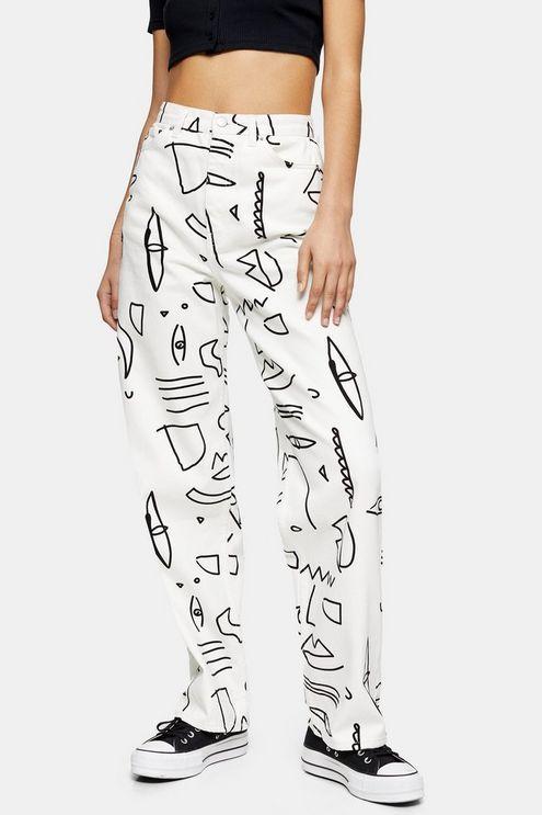 Womens White Art Print Oversized Mom Jeans - White