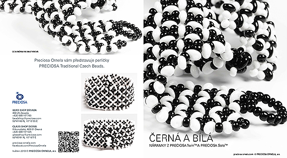 Black and white bracelets made from PRECIOSA Twin™and