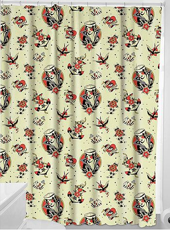 Lost Love Tattooed Shower Curtain By Sourpuss Home Decor YellowMulti