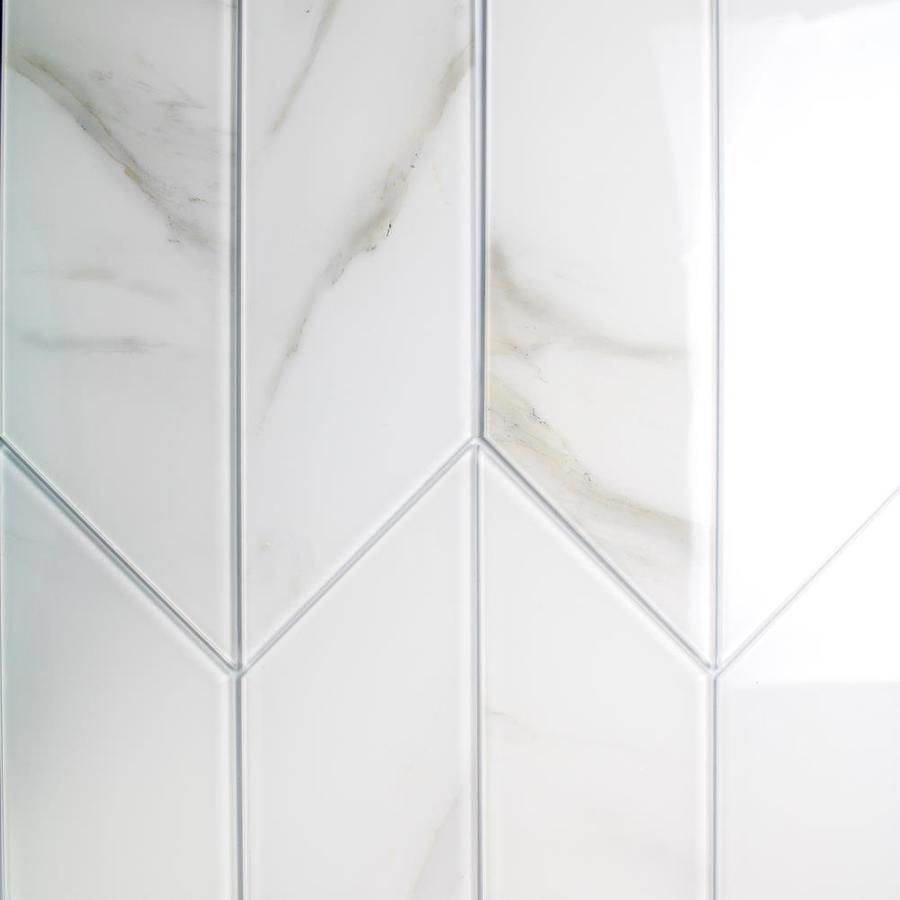 Abolos Nature 54 Pack White 3 In X 12 In Matte Glass Marble Look Wall Tile Lowes Com In 2020 White Kitchen Wall Tiles Glass Marbles White Glass