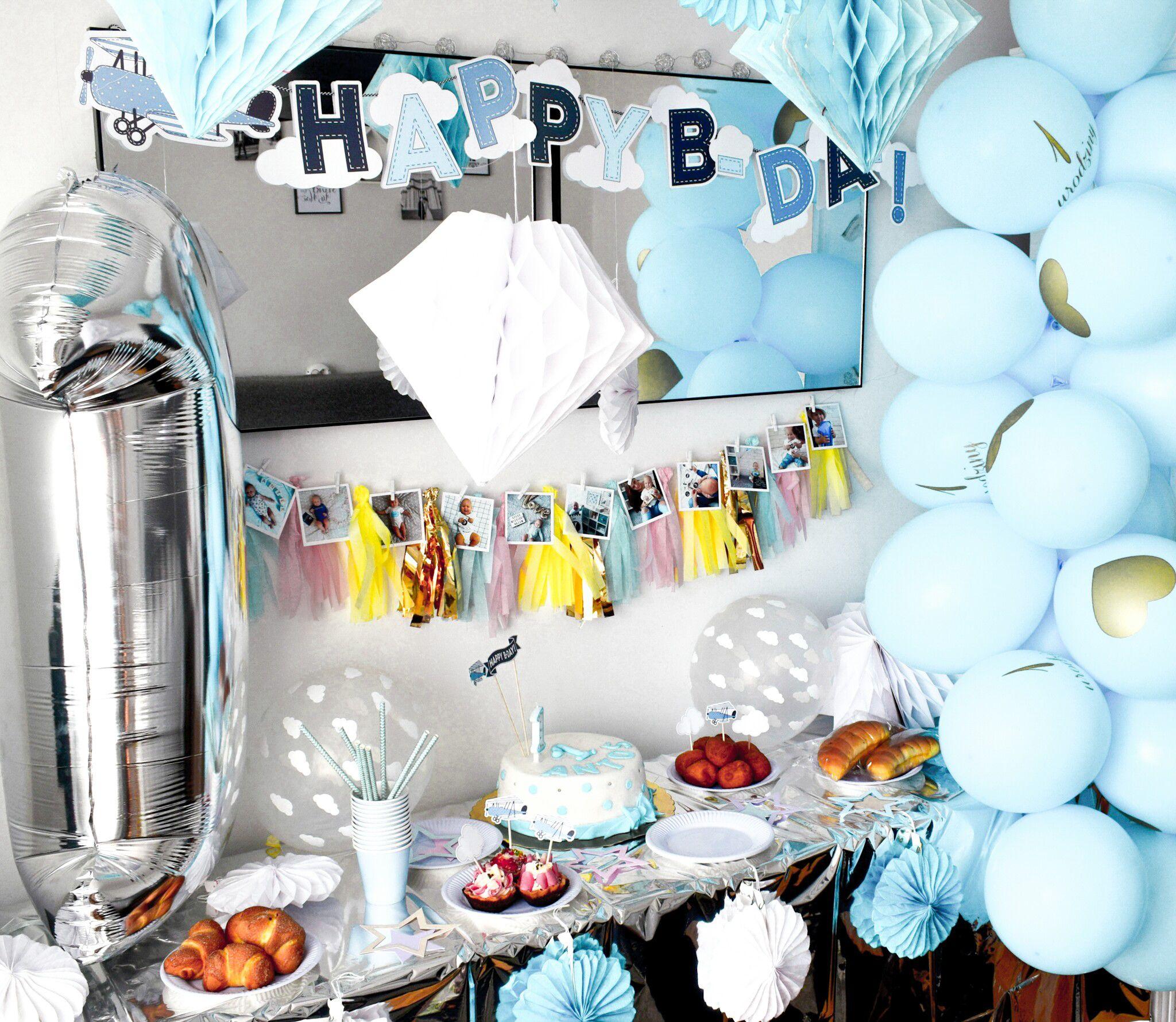 Balony 1 Urodziny Niebieskie 5szt With Images Balony