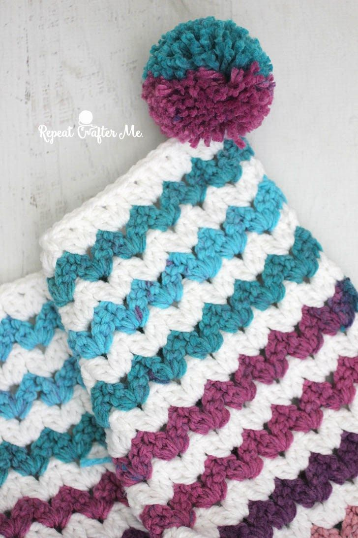 Caron Chunky Cakes Crochet Cluster V-Stitch Blanket | Blanket ...