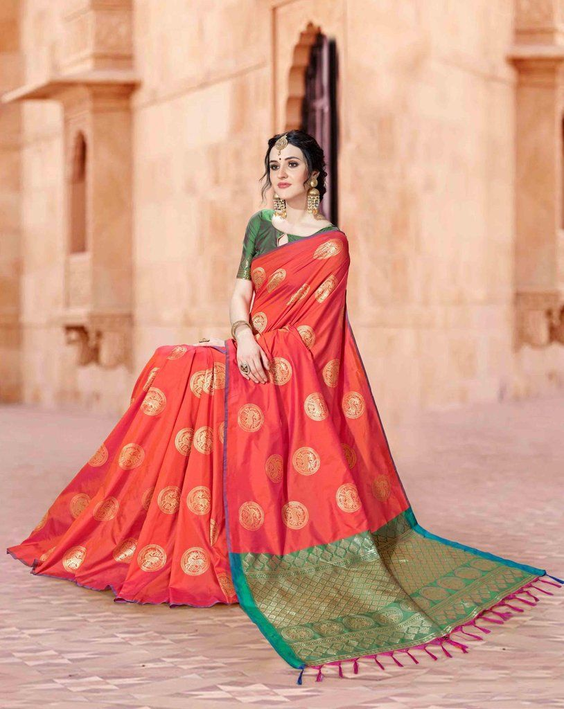 5a003c25b94c0c LIGHT RED SOUTH SILK SAREE WITH ZARI WEAVING AND CONTRAST BLOUSE ...