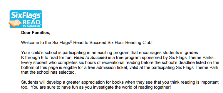 Six Flags Read To Succeed Reading Log Six Flags Great Adventure Reading