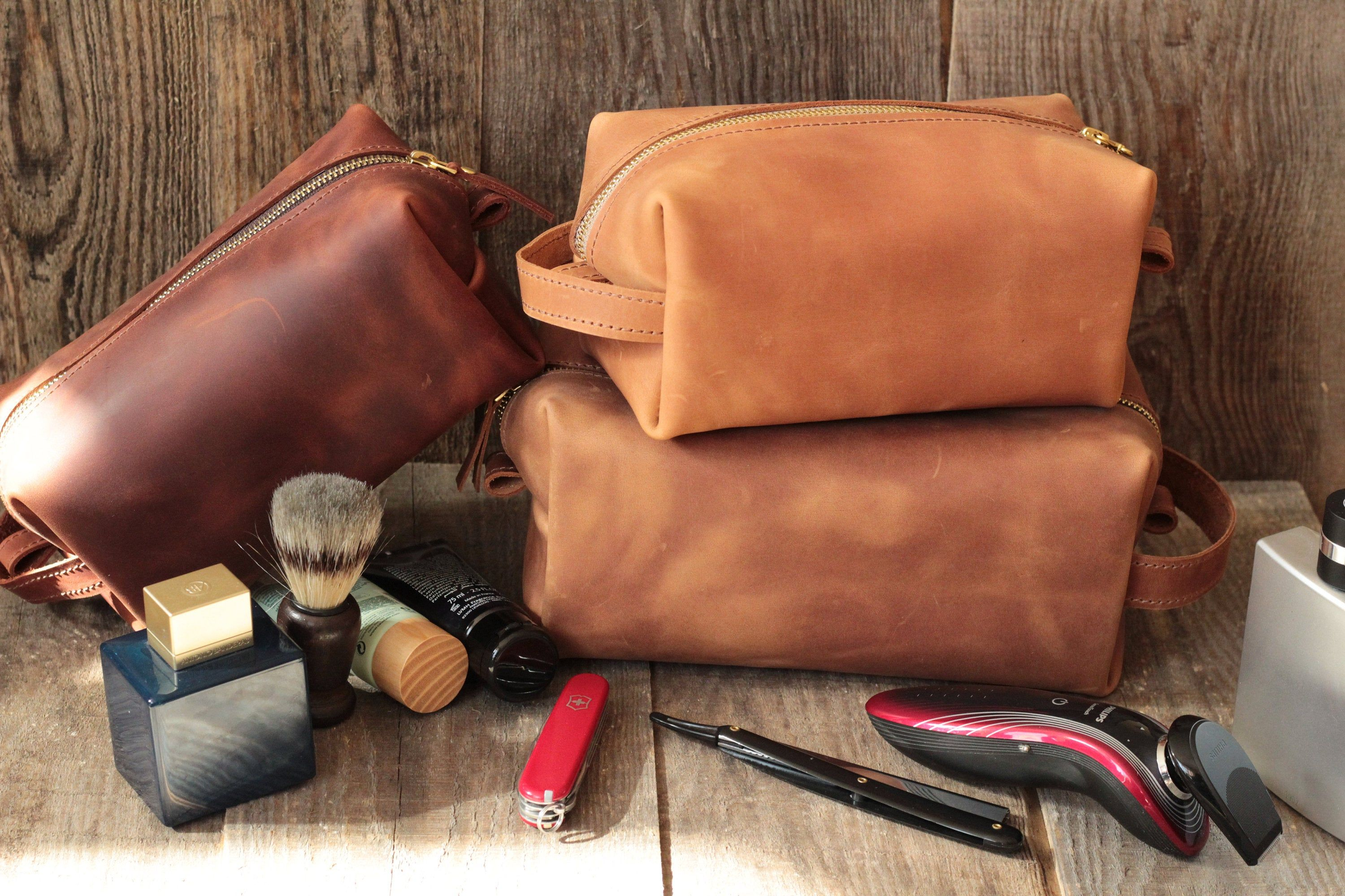 3rd Anniversary Gift for Wife Leather Dopp Kit Handmade