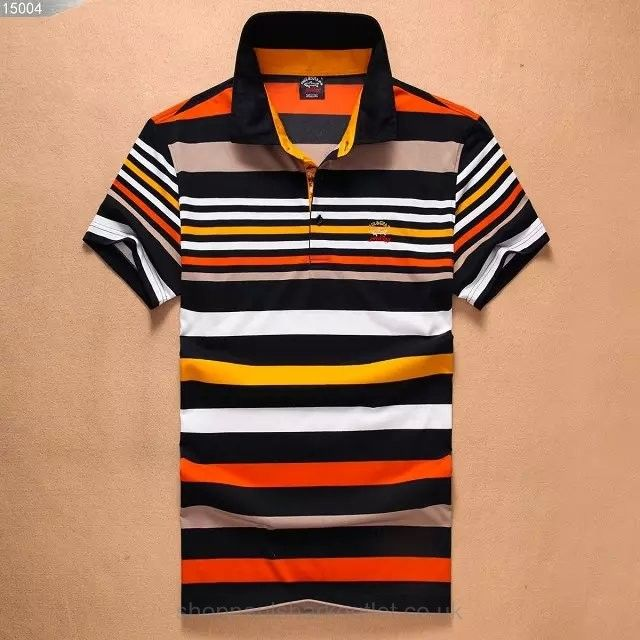 8e8967df Paul Shark Striped Polo Shirts Short Sleeved Tee Top Stand Collar Orange  Black White