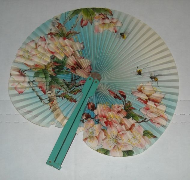 Oriental Asian Vintage Hand Fan Chinese Paper Metal Hand
