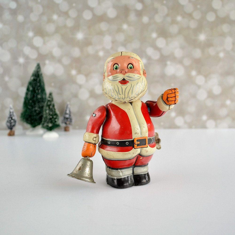 Tin Santa Toy Made In Japan Wind Up Bell Ringing Santa Trade