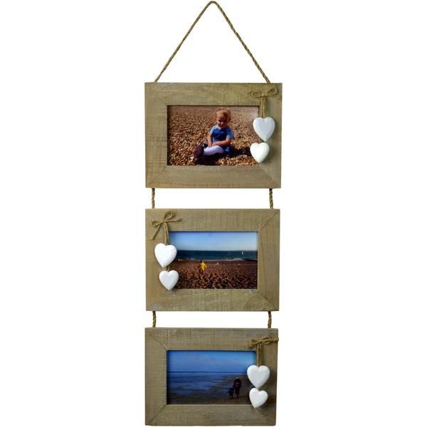 Nicola Spring 6x4 Hanging Hearts Picture Frame 3 Photo Natural