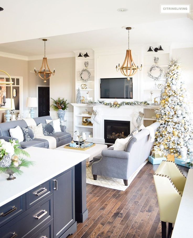 living room showcase designs%0A Christmas Home Tour Beautiful living room with mixed metallics and icy  blues create a chic