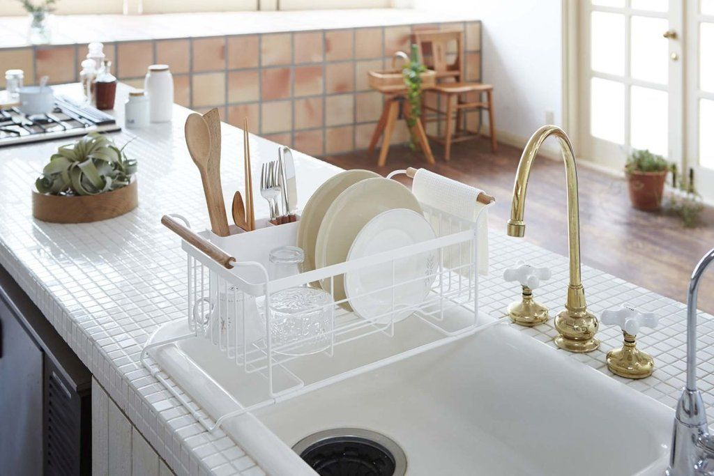 tosca over the sink dish drainer rack in white design by yamazaki rh pinterest com