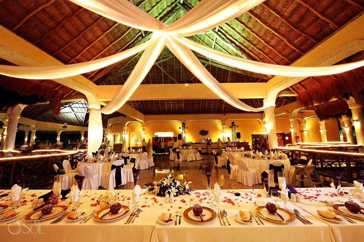 Riviera Maya Wedding At Grand Palladium Kantenah Elegant Reception Set Up Under A Soaring Palapa Mexico Photographers Del Sol Photograph