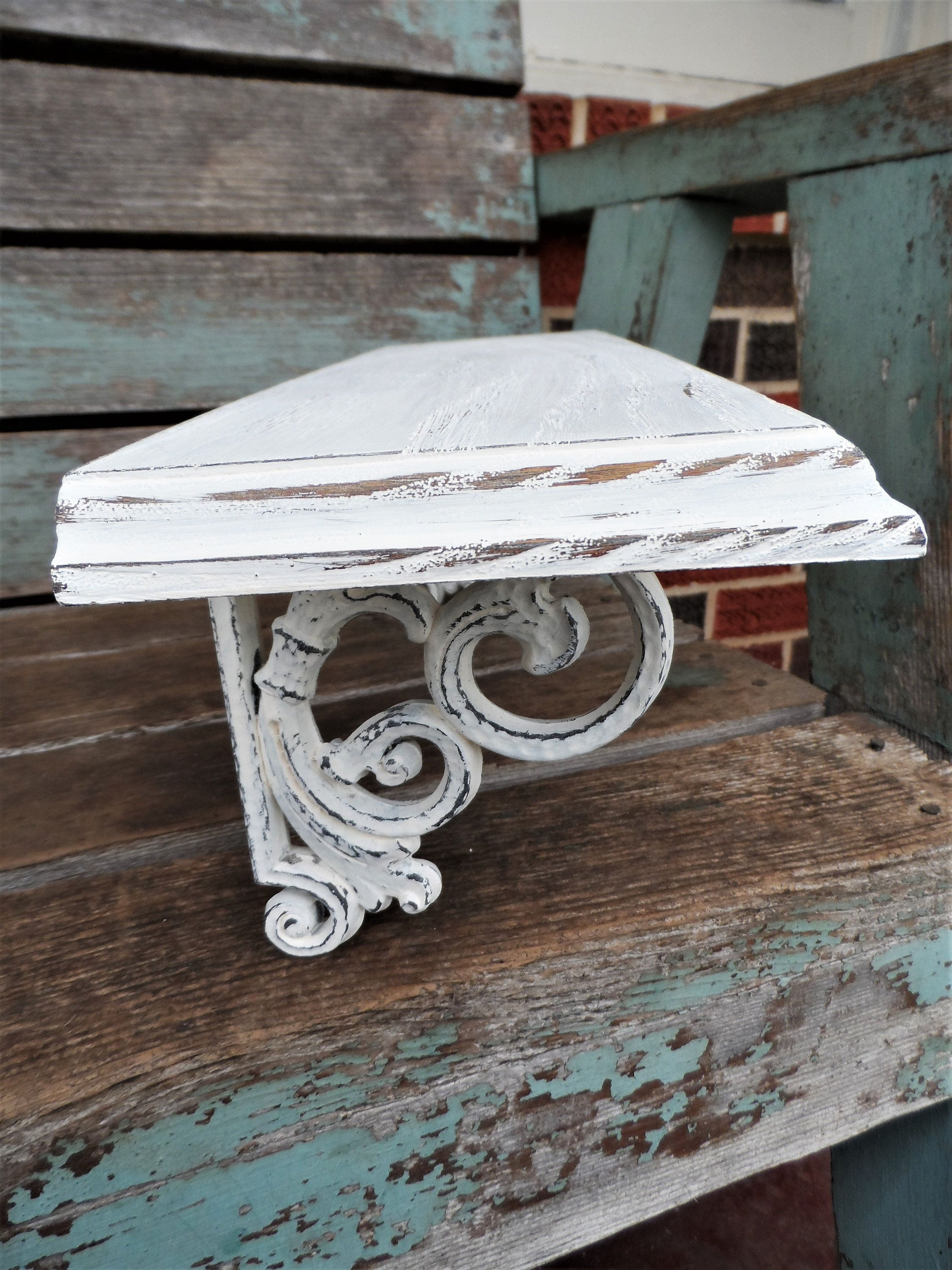 vintage shabby chic wall shelf syroco distressed chippy antique off rh pinterest com