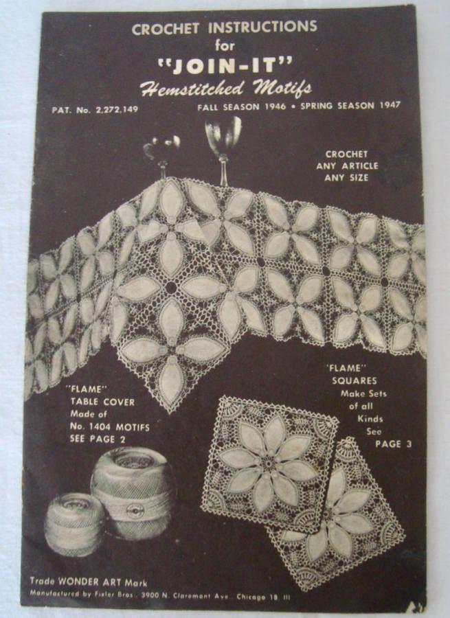 "Vintage 1946 Crochet Instructions for ""JOIN-IT"" Hemstitched Motifs - WONDER Art by TimesGoneByFinds on Etsy"