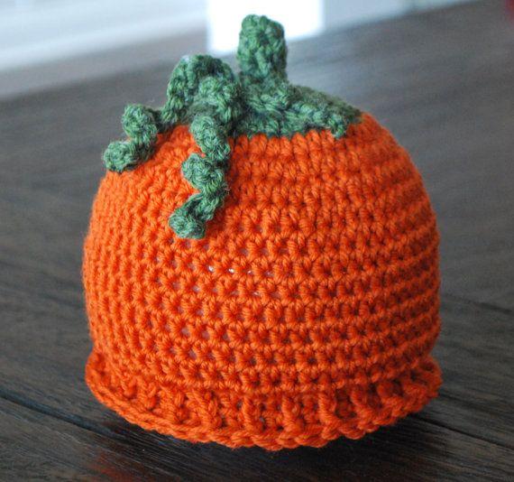 Pumpkin Baby Hat- Orange Dark Green Pumpkin Beanie Hat (Baby Gift Pumpkin  Beanie Crochet Pumpkin Hat Newborn Hats Halloween Autumn Fall) f4b7a8cc2593