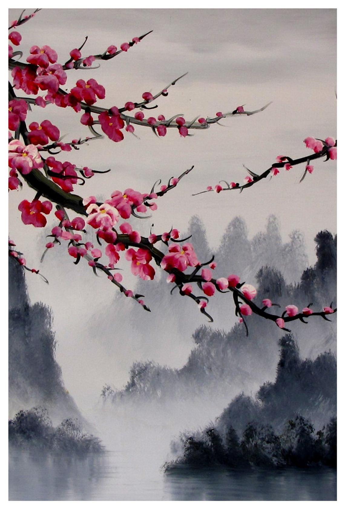 Kirschblüte Kunst, Wandbild Kirschblüte, kirschblüte