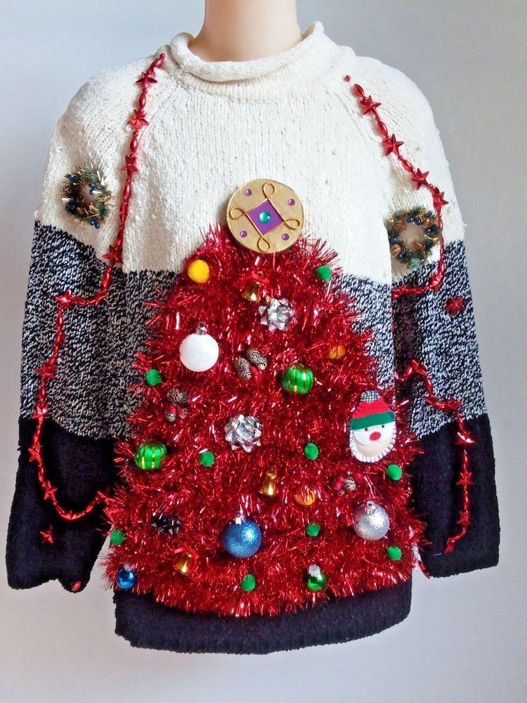 Ugly Christmas Sweater XL Womens, Christmas Sweater, Knit Sweater