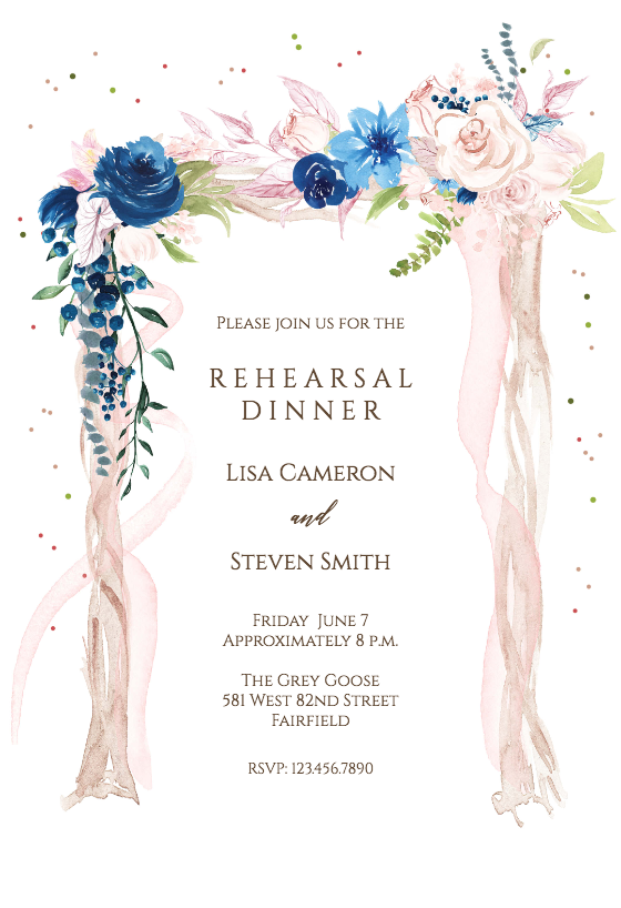 Printable or Printed Invitations Bridal Shower or Rehearsal Dinner Invitation Rustic Wedding Floral