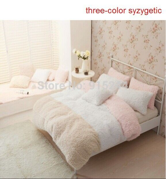 color bedding pink fleece set pin duvet solid soft size queen cover girls sheets bed