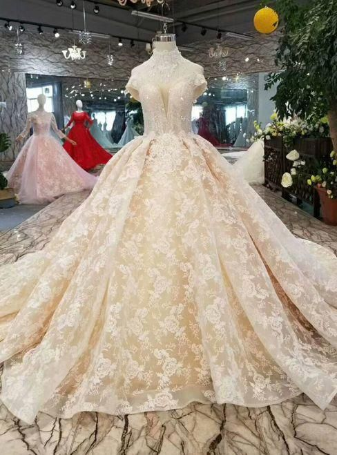 Champagne Ball Gown Lace Appliques Off The Shoulder Wedding Dress With Beading #champagneweddingdress #greekweddingdresses Champagne Ball Gown Lace Appliques Off The Shoulder Wedding Dress With Beading #champagneweddingdress #greekweddingdresses