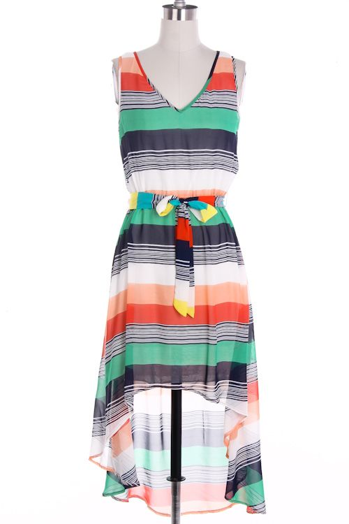 multi striped hi low dress light, colorful, and playful just in time for summer!  Find it at M@nnequin at Salon DeLange