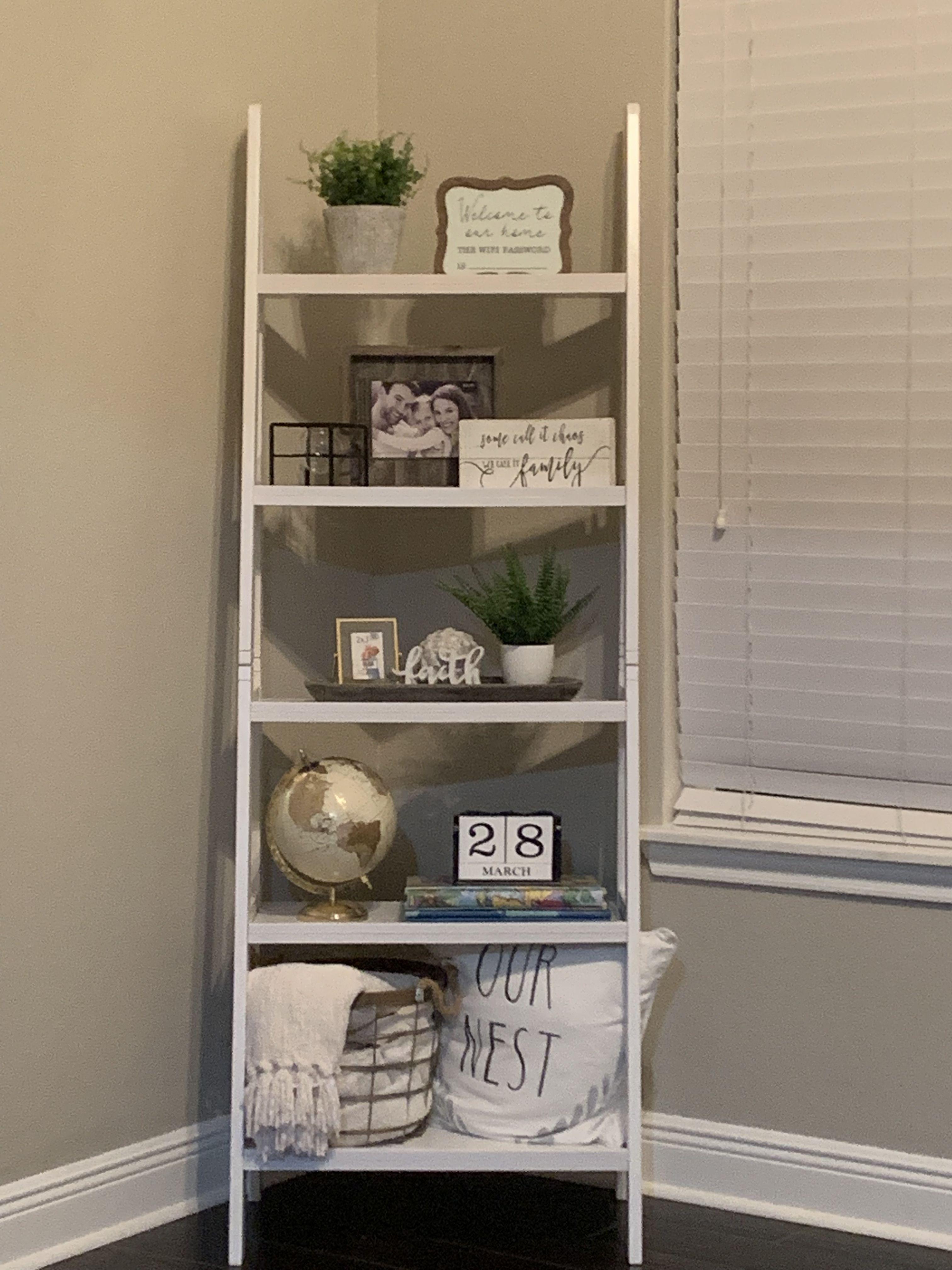 Pin By Brandy Porter On Decorating Ideas In 2020 Shelf Decor Living Room Farmhouse Shelves Decor Ladder Shelf Decor