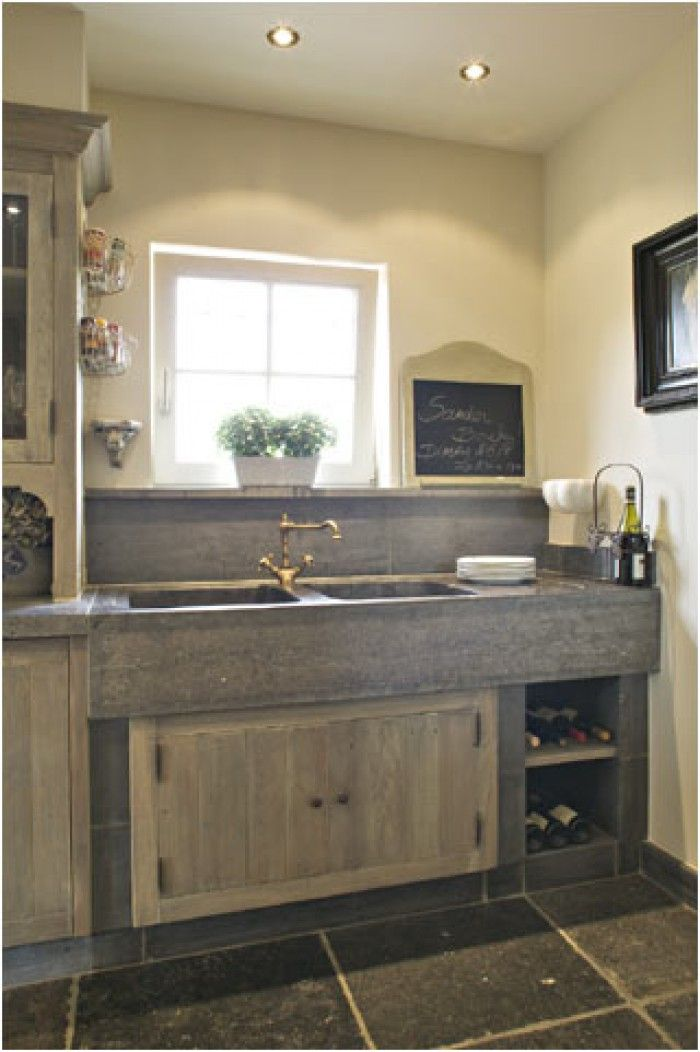 Mooi met beton blad en hoog klein raam huis pinterest raam keuken en huis inrichting - Idee deco keuken grijs ...