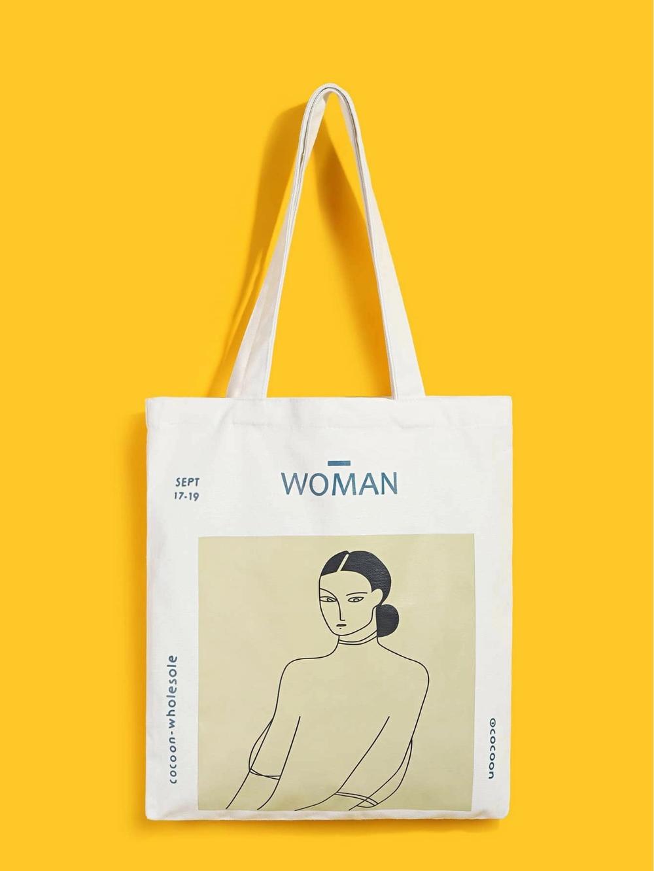 Figure Print Canvas Tote Bag Shein Uk