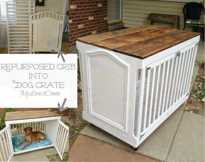 crib repurposed to a dog crate -- I love this!