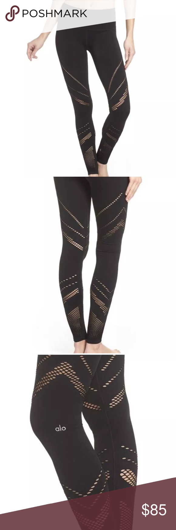 5ab2553f7ac229 Alo Yoga Seamless Hole Perforated Leggings Alo Yoga Seamless Hole  Perforated Cutout High Waist Leggings - Black - Small ALO Yoga Pants  Leggings