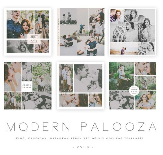 Modern Palooza Blog Facebook And Instagram Collage Templates Vol 3 Instagram Collage Collage Template Photo Collage Template