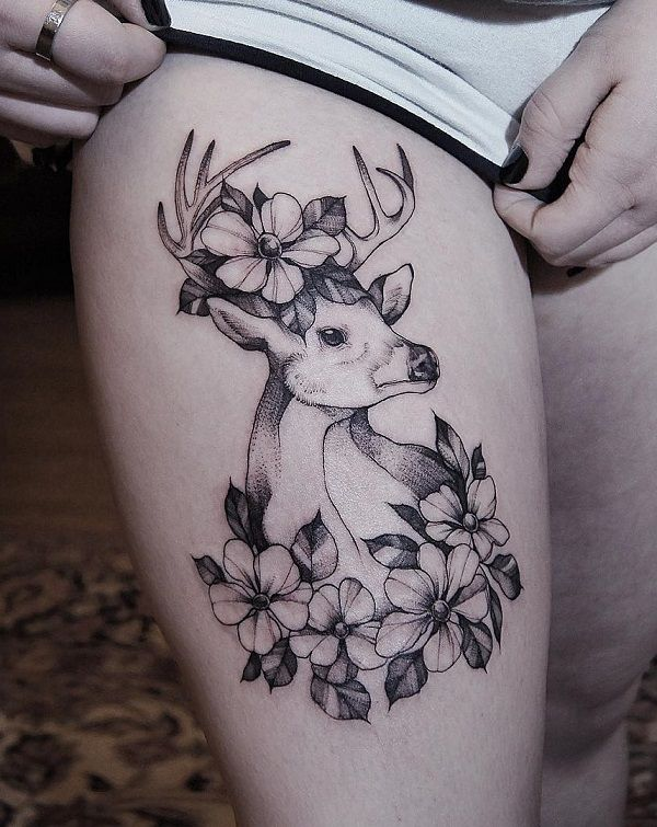 7be8fa66c637d Deer and flower thigh tattoo - 85+ Inspiring Deer Tattoo Designs 45  Inspiring Deer Tattoo