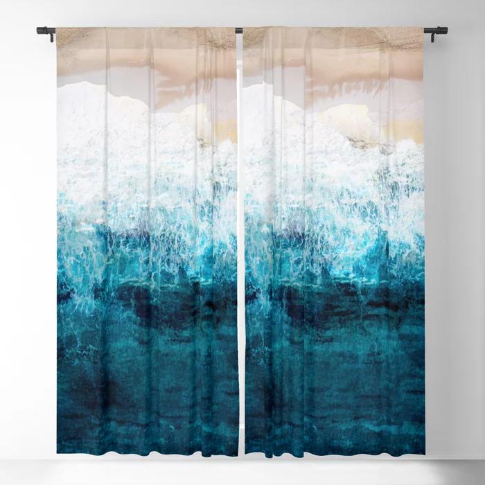 Watercolour Summer Beach Iii Blackout Curtain By Nadja1 Society6