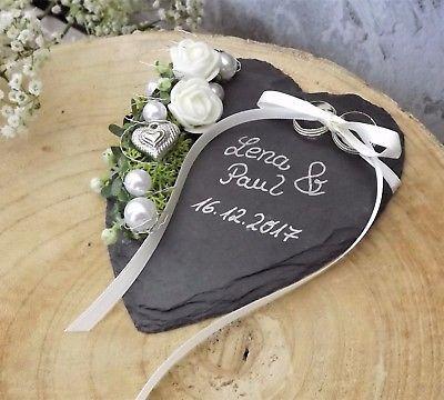 ringkissen ringhalter schiefer herz creme rosen mit beschriftung namen hochzeit hochzeit in. Black Bedroom Furniture Sets. Home Design Ideas