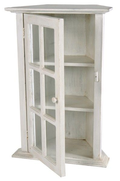 Small Corner Cabinet Glass Front Display White Shabby Chic