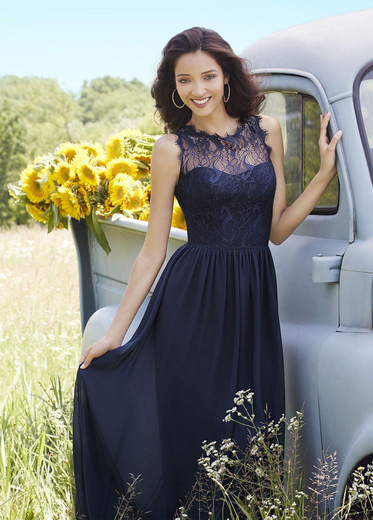 Indigo chiffon aline bridesmaid gown navy lace bateau neckline