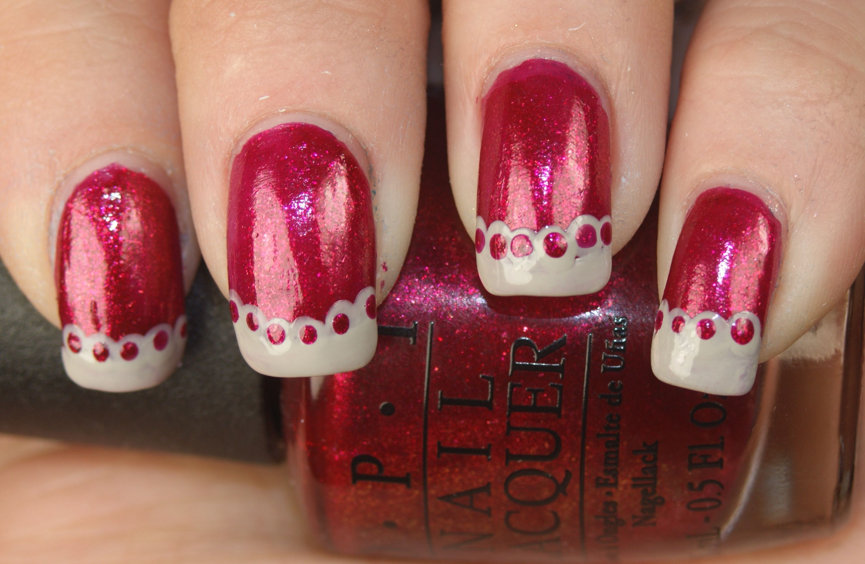 Valentine's Day Lace featuring OPI You Only Live Twice and OPI Skull and Glossbones