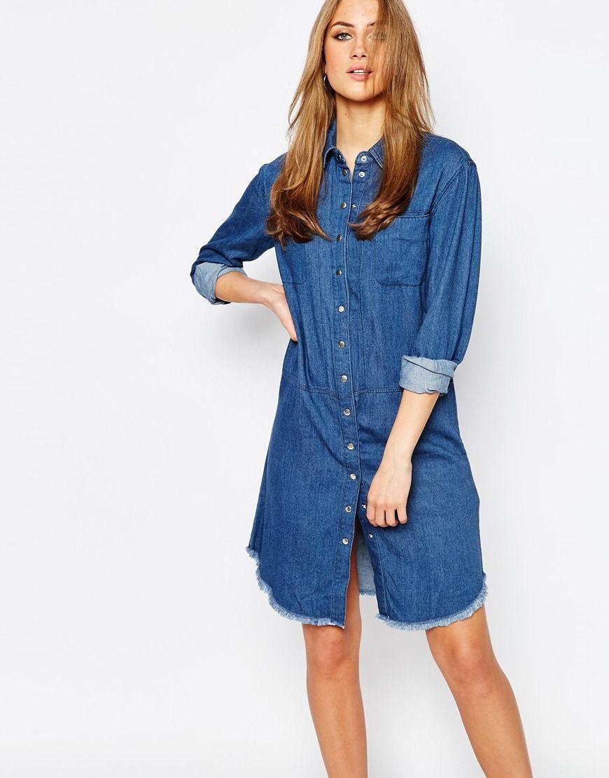 7933548b0bde Warehouse Denim Frayed Hem Shirt Dress