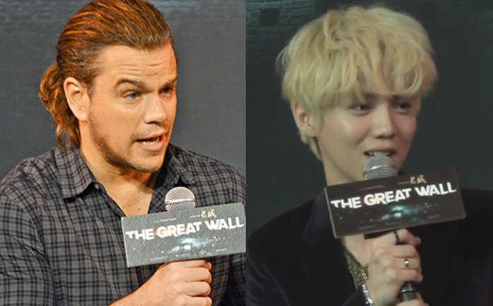 Matt Damon expresses his surprise at Great Wall costar Luhan's overwhelming popularity Just wait 'til he sees the box office sales... O.o #EXOtics will blow this through the roof  . xD that ponytail, tho...
