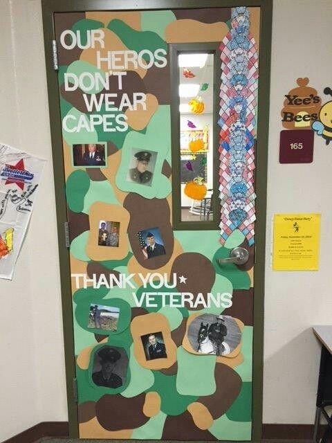 Veterans Day Door Decoration I Did At My Daughter S School Classroom Tips School Door Decorations School Doors Veterans Day Activities