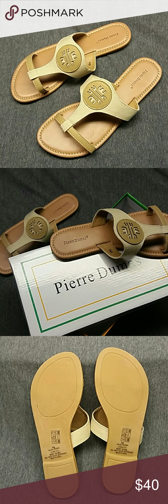 """Pierre Dumas """"Roxy"""" natural sandal Size 9. Brand new still in box. Pleazs use the offer button if interested. I ship same or next day. No holds and no trades. Pierre Dumas Shoes Sandals"""