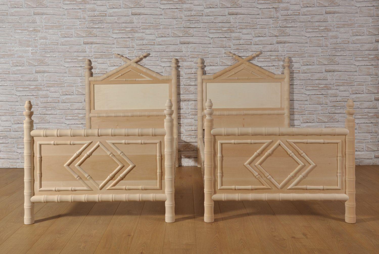 Importante Letto Bamboo Singolo Prodotto In Stile Coloniale Impero