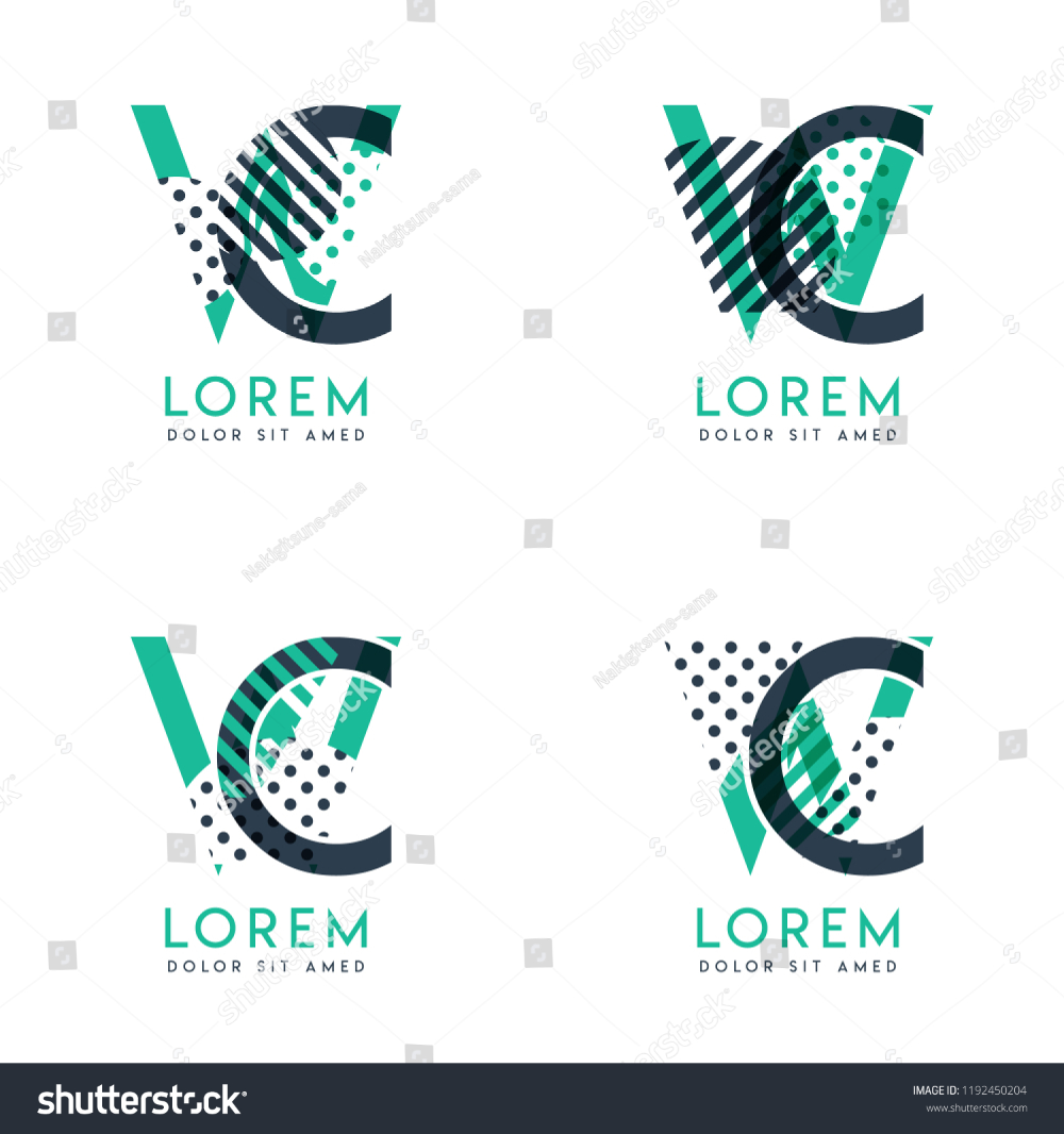 Four Abstract Cw Logo Posts Set With Dot And Slash Green And Black Very Suitable For Corporate Identity Business Letterhead Cards And Banners Logo Logode