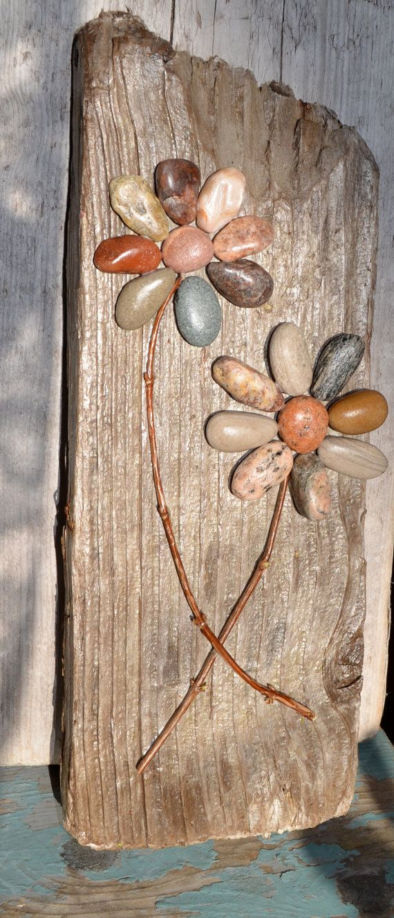 Together We Grow Pebble Flowers Driftwood Art Rock