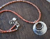 Apricot moonstone gemstone necklace with sterling silver handcrafted pendant