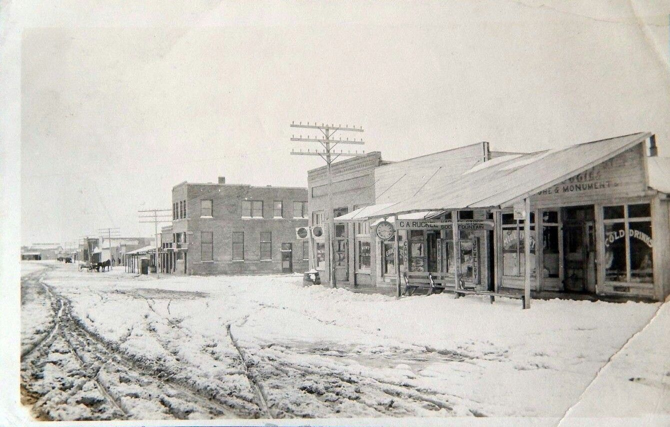 Snow In The Street Of Ft Sumner Nm From December 1920