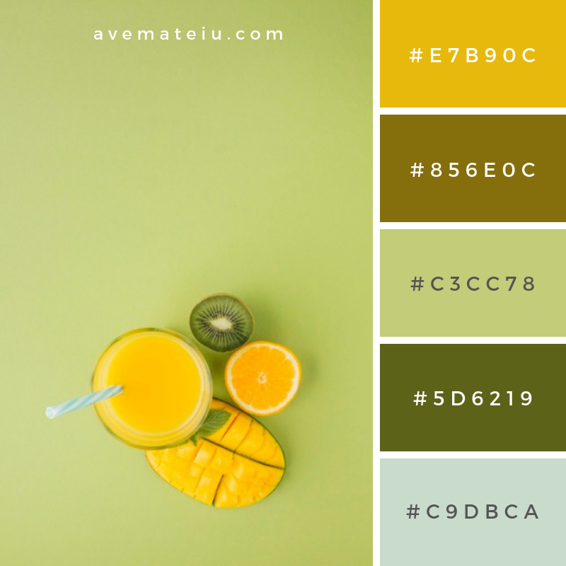 Top view yellow smoothie with copy space. Color Palette #233 #colorpalettecopies