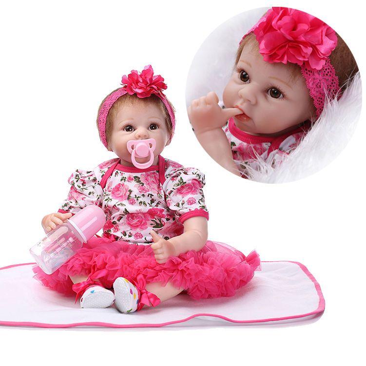 Reborn Baby Girl Doll 22/'/' Handmade Lifelike Silicone Vinyl Newborn Dolls Sweet