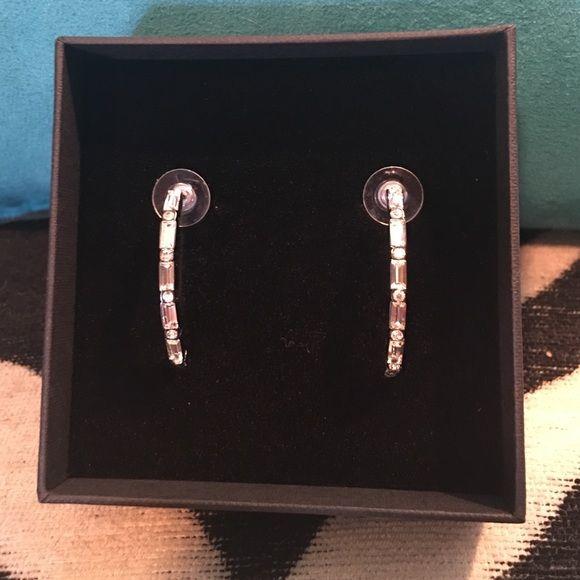 Never Been Worn: Sparkling Half Hoop Earrings These stunning hoop earrings consist of alternating crystal rectangles and circles. Jewelry Earrings